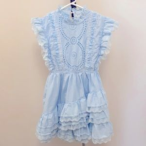 "Trish Scully Girls Blue Ruffle ""Emily"" Dress"